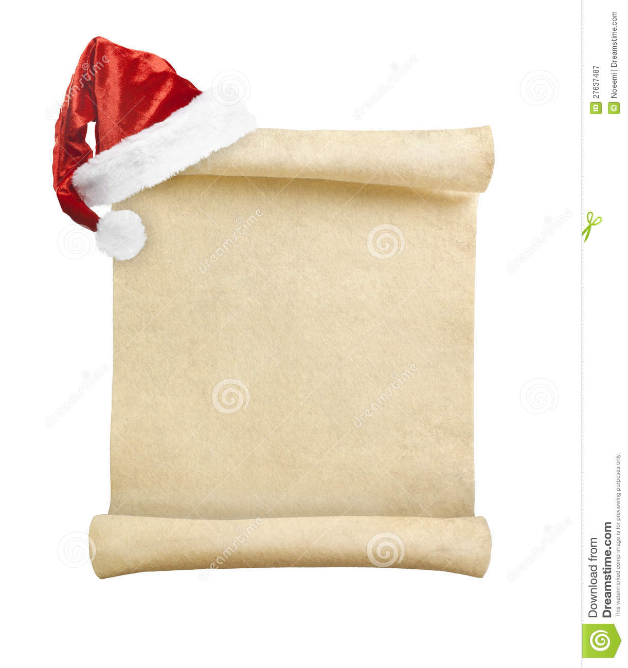 Blank Christmas Scroll Witch Santa Hat Royalty Free Stock Photography ...