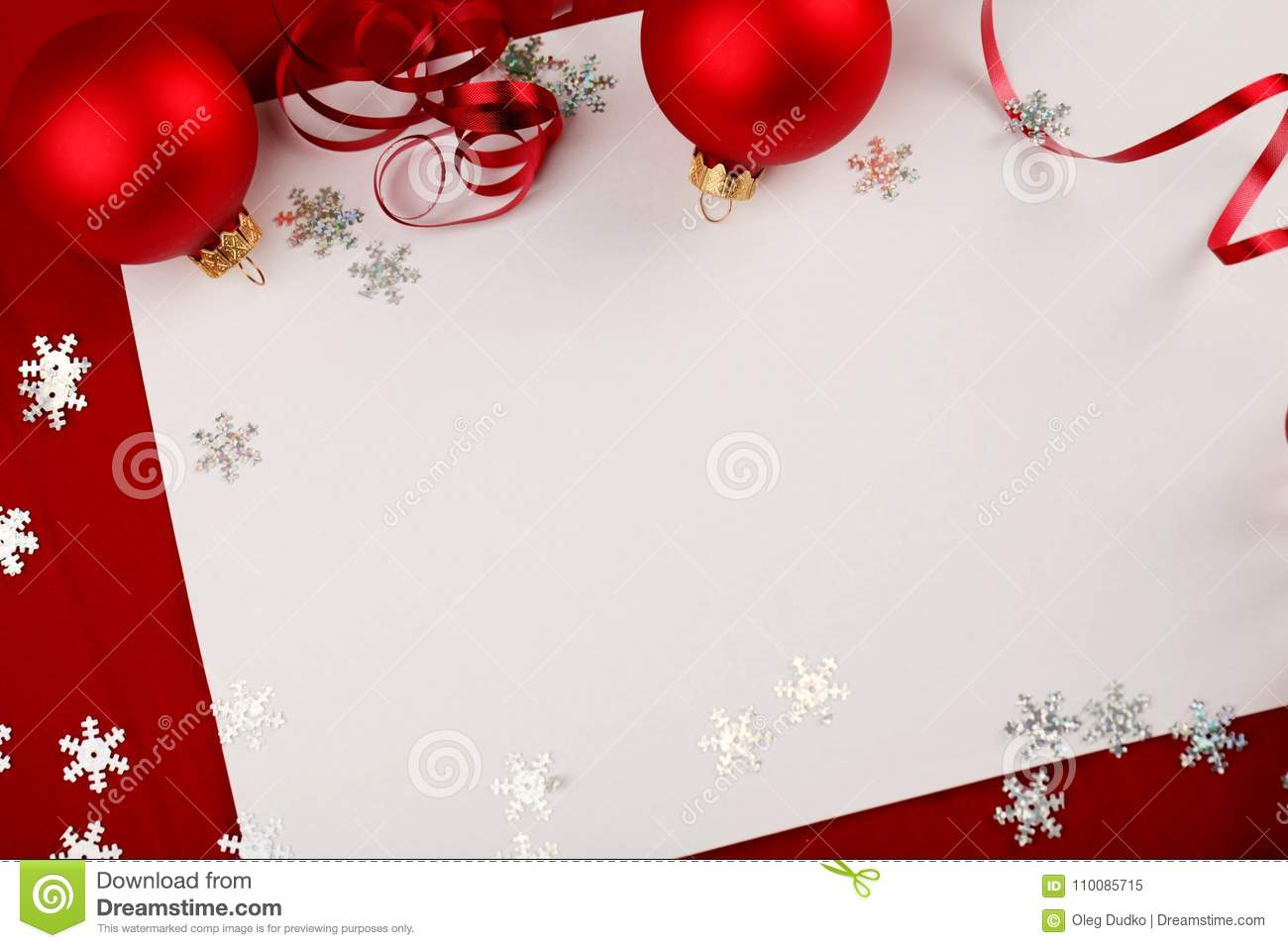 Christmas Stationery.Blank Christmas Stationery Or Cards With Ornaments Stock