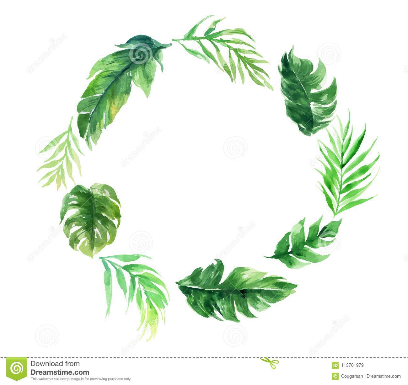 Blank Circle Green Leave Plant Wedding Decoration Card Stock Vector ...
