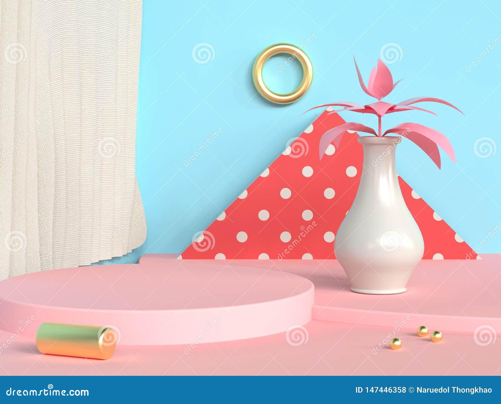 blank circle podium abstract scene blue wall pink floor tree pot/jar 3d render
