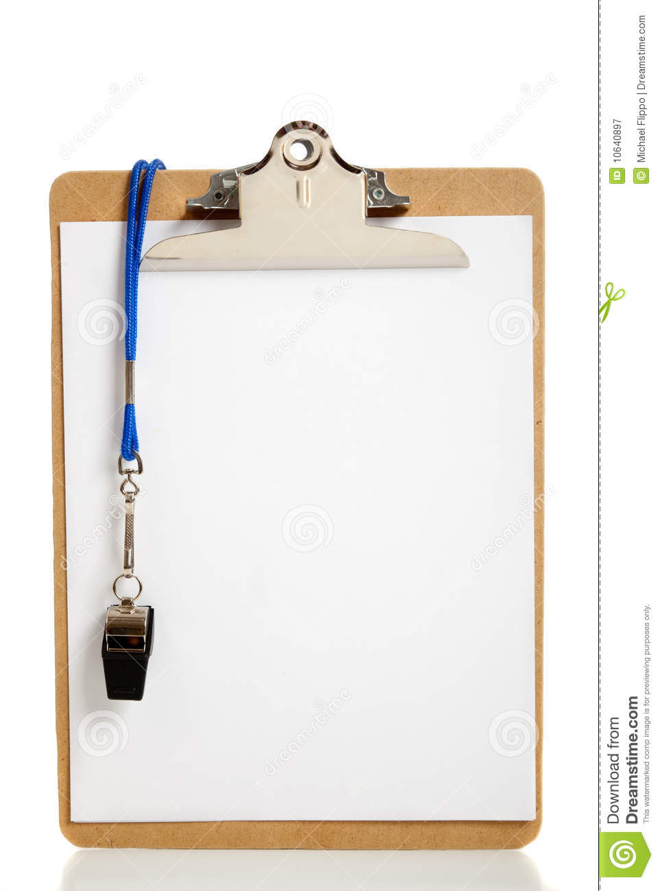Blank Clipboard And Coaches Whistle Royalty Free Stock Photography ...