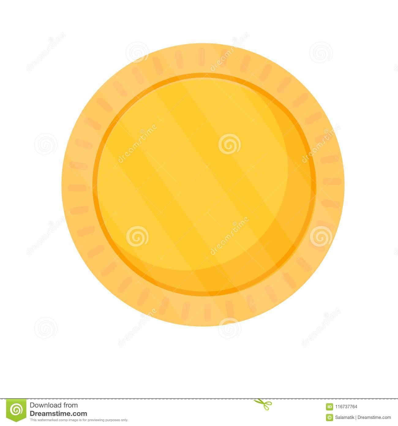 blank coin template gold blank medal round icon isolated on white