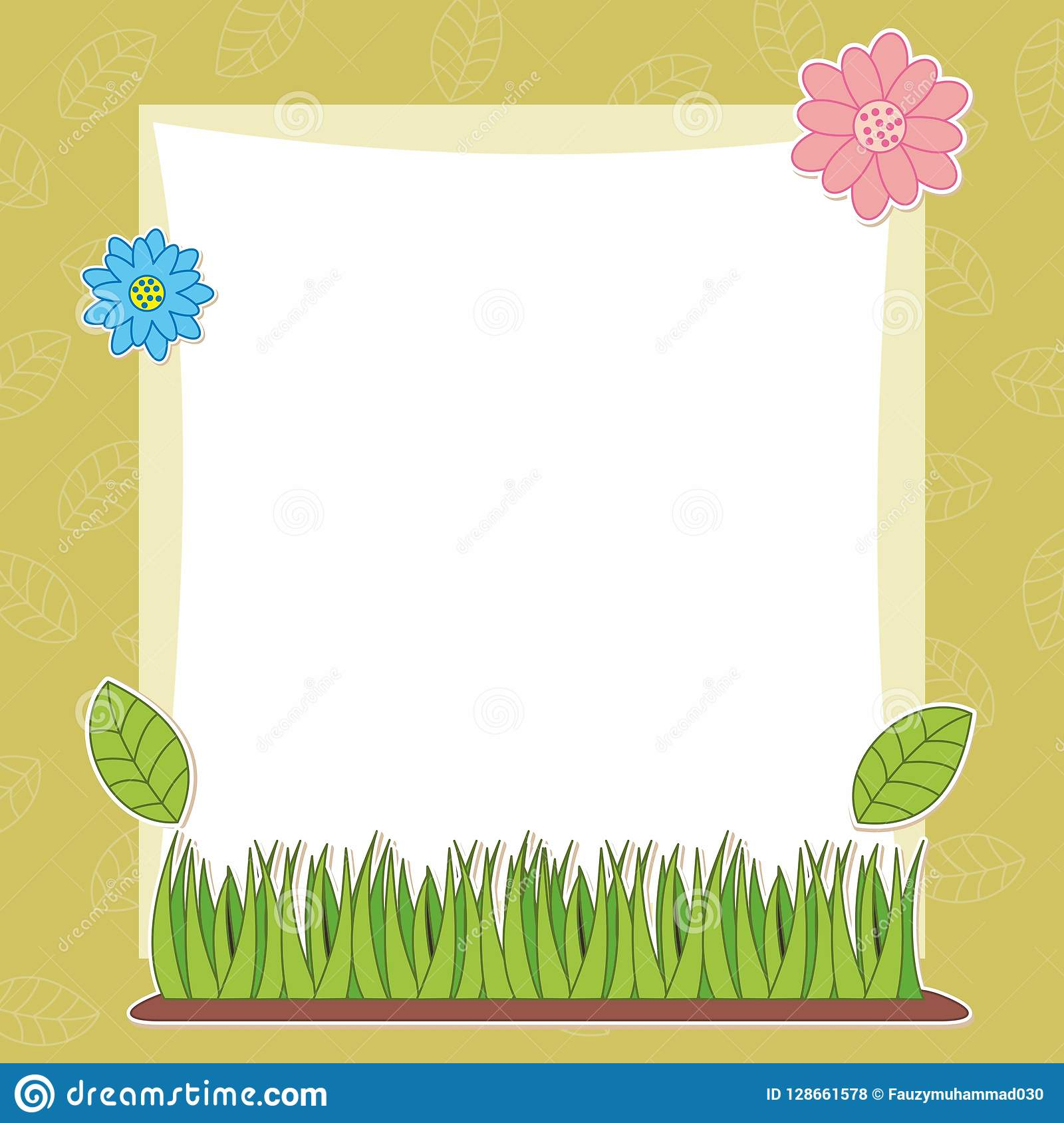 Blank Colorful Cute Flower Frame Design Background Stock