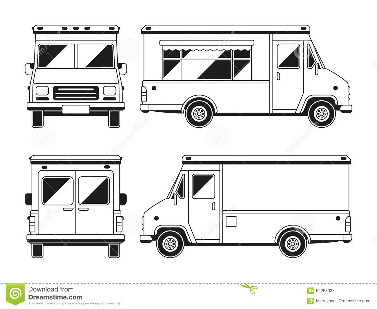 blank food truck drawing sketch coloring page
