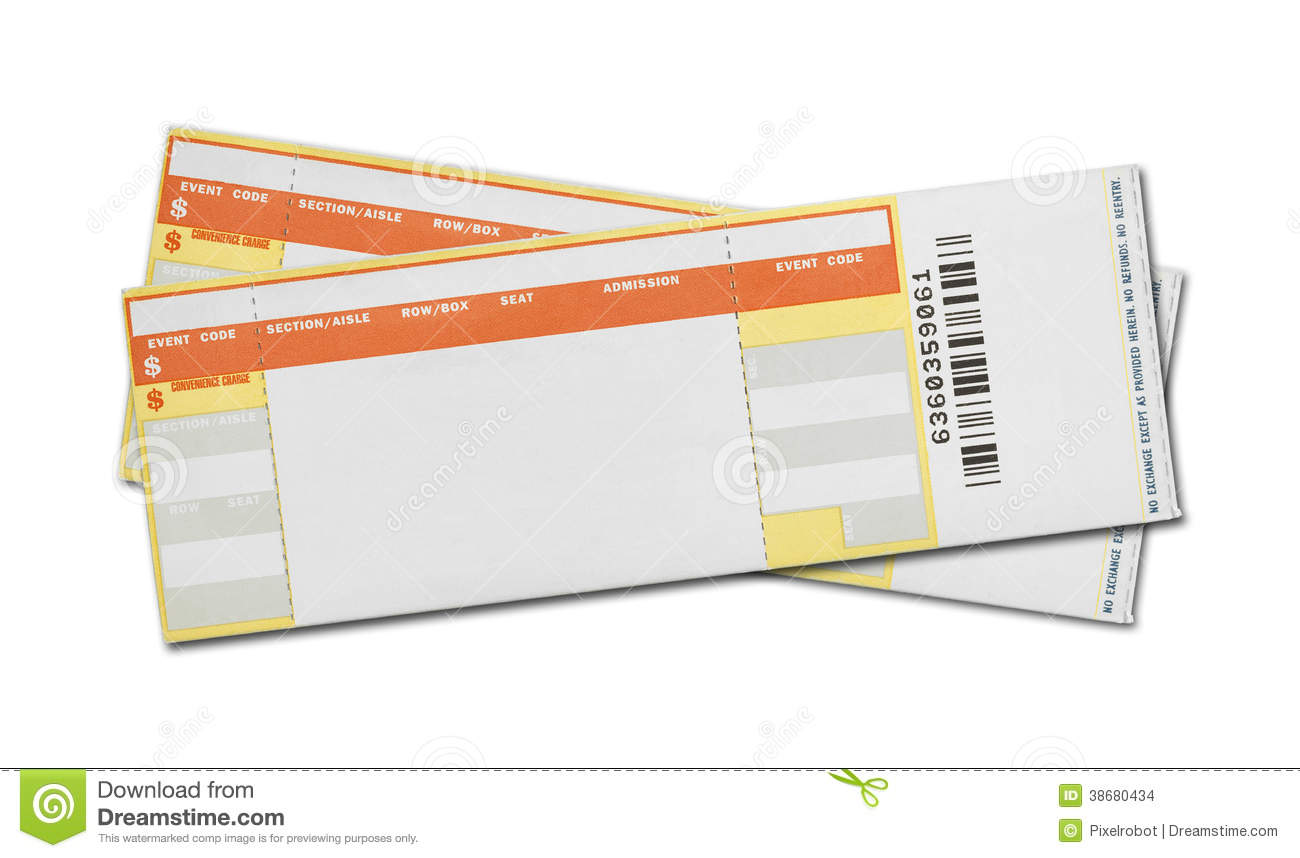 blank concert tickets stock images image 38680434. Black Bedroom Furniture Sets. Home Design Ideas
