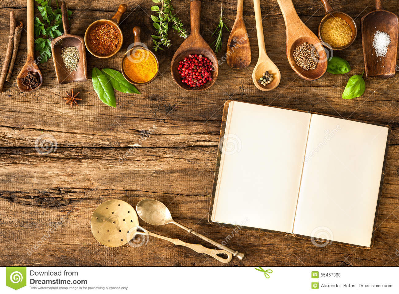 blank cookbook and spices stock photo  image of closeup