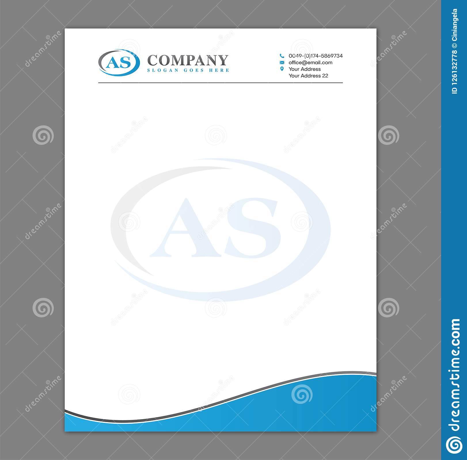 Blank Letterhead Template For Print With Logo Stock Vector