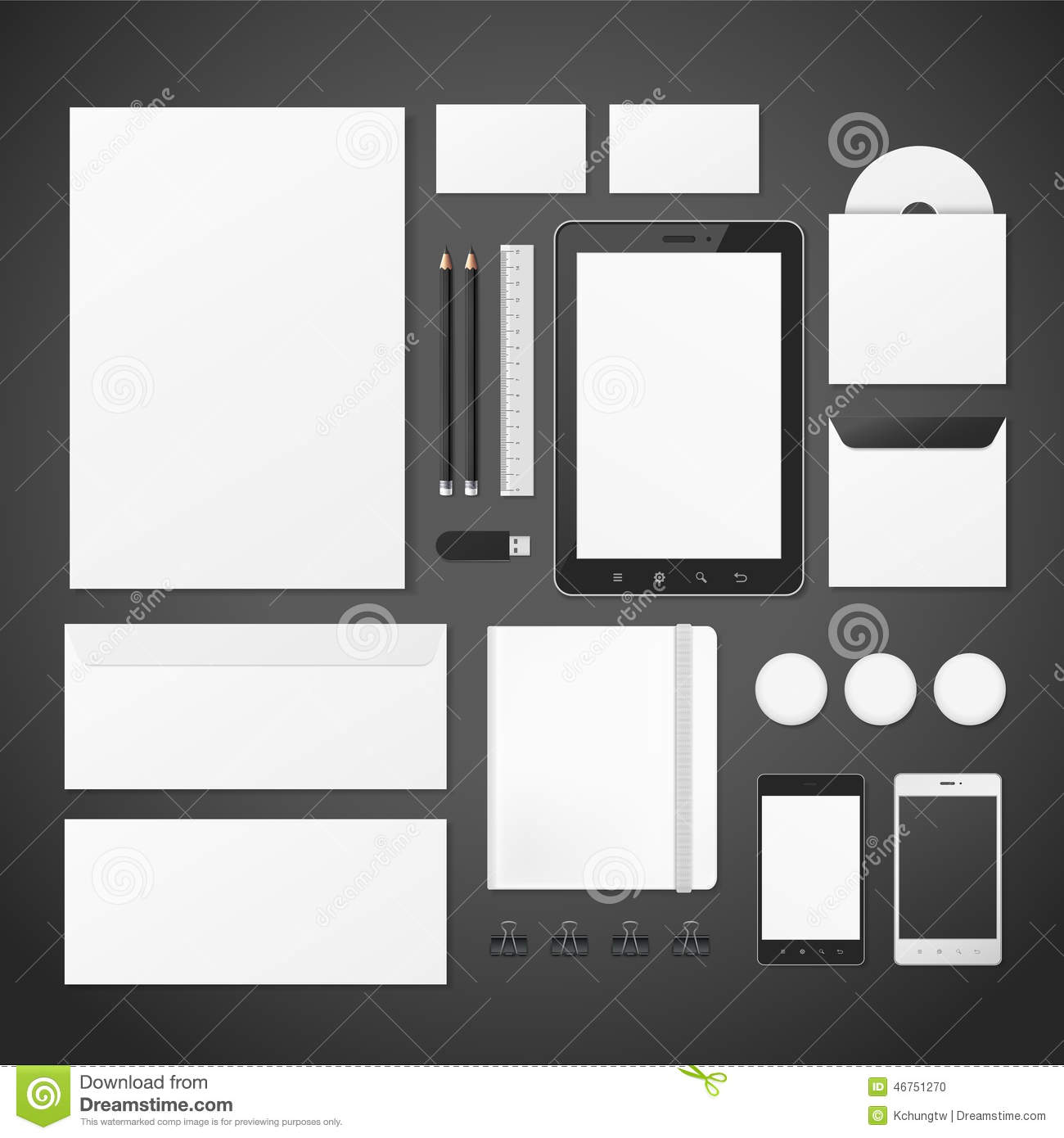 Blank Stationery And Corporate Identity Template Consist: Blank Corporate Identity Stationery Set Stock Vector
