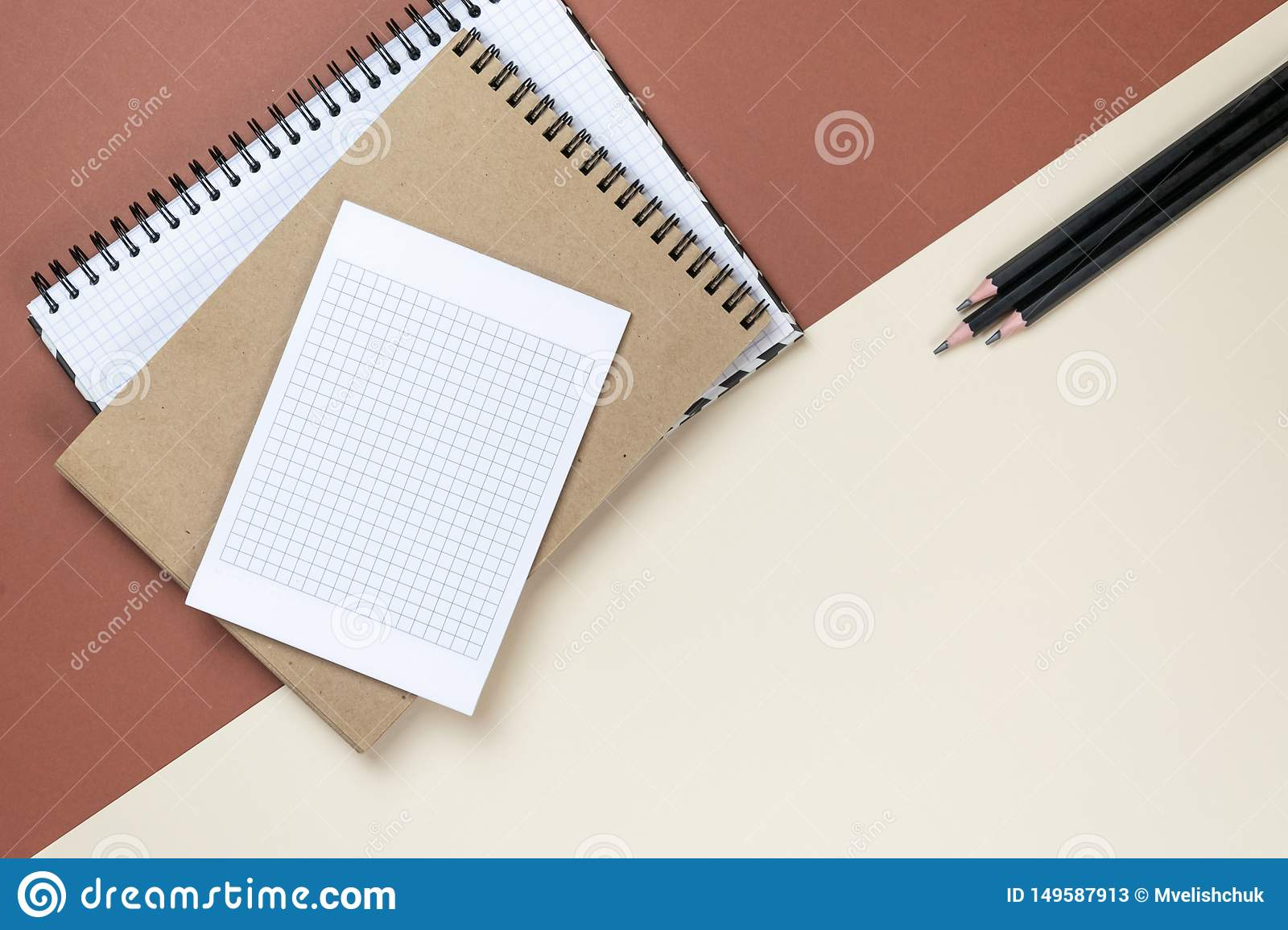 Blank corporate stationery set on brown background. Branding mock up. Flat lay.