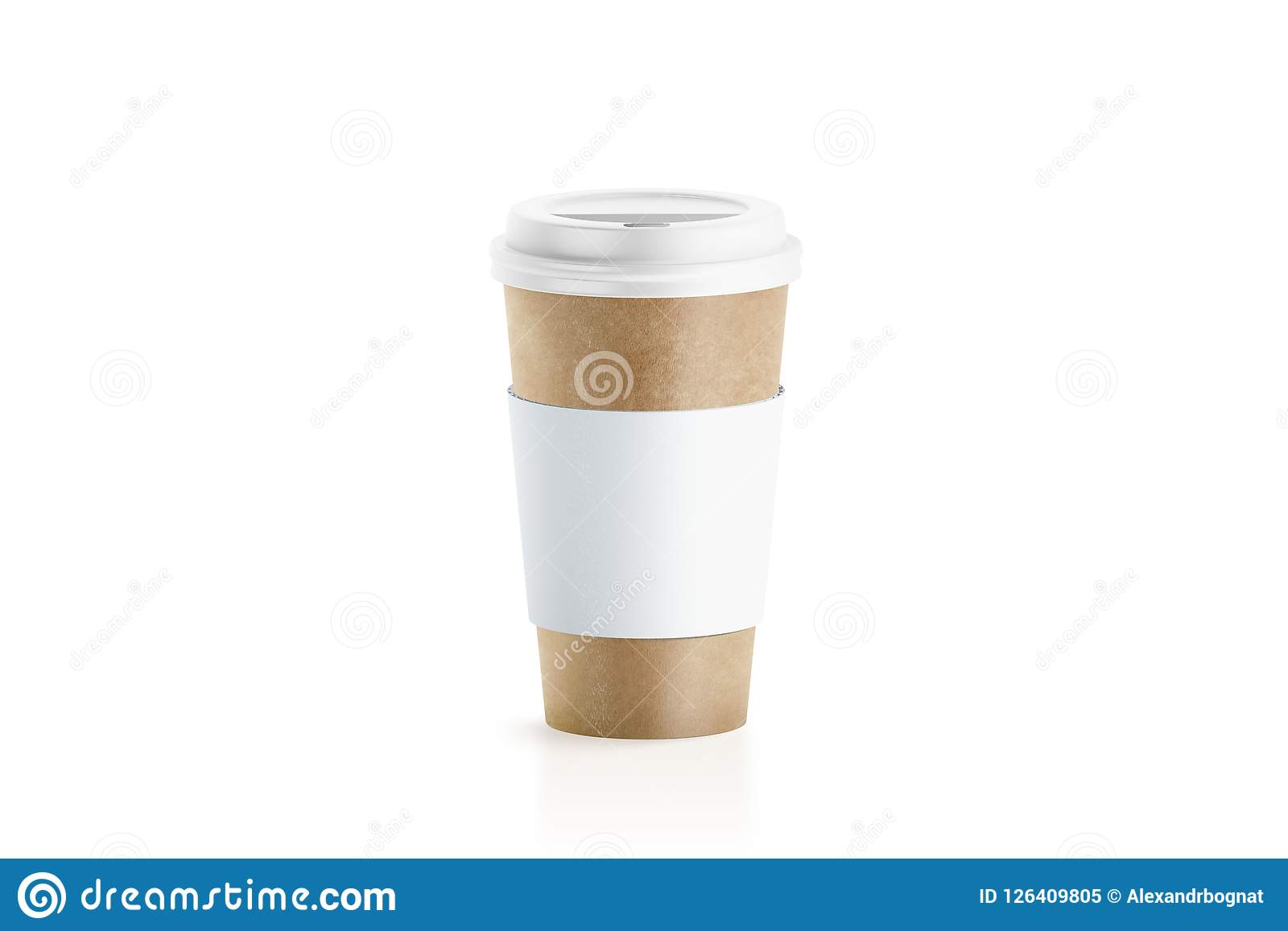 2abc4608786 Blank Craft Paper Cup With White Sleeve Holder Mockup Stock ...