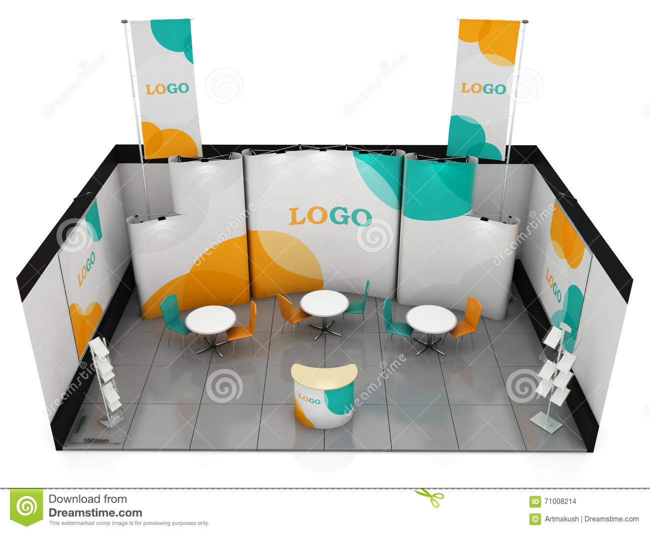 Exhibition Stand Design Template : Blank creative exhibition stand design booth template d