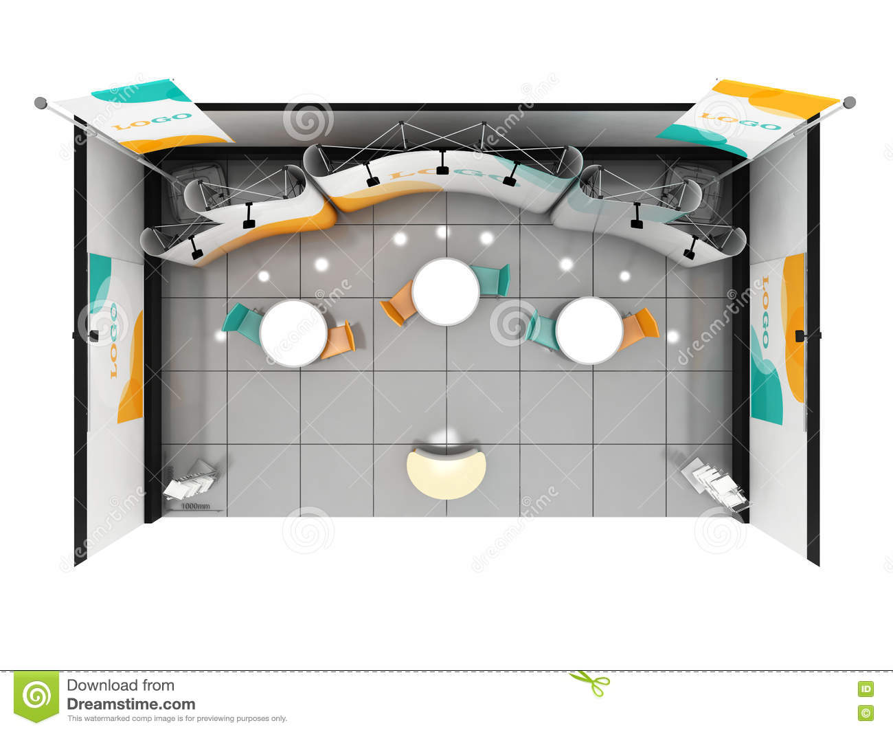 Exhibition Stand Planning Template : Blank creative exhibition stand design booth template d