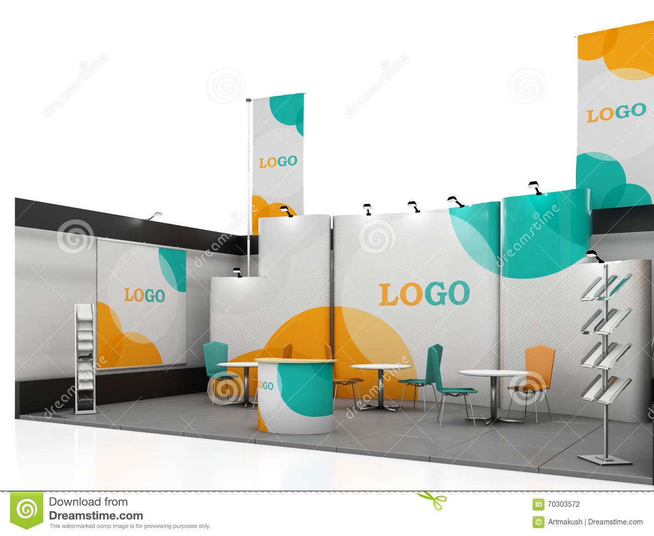 Exhibition Stand Mockup Free Download : Blank creative exhibition stand design with color shapes