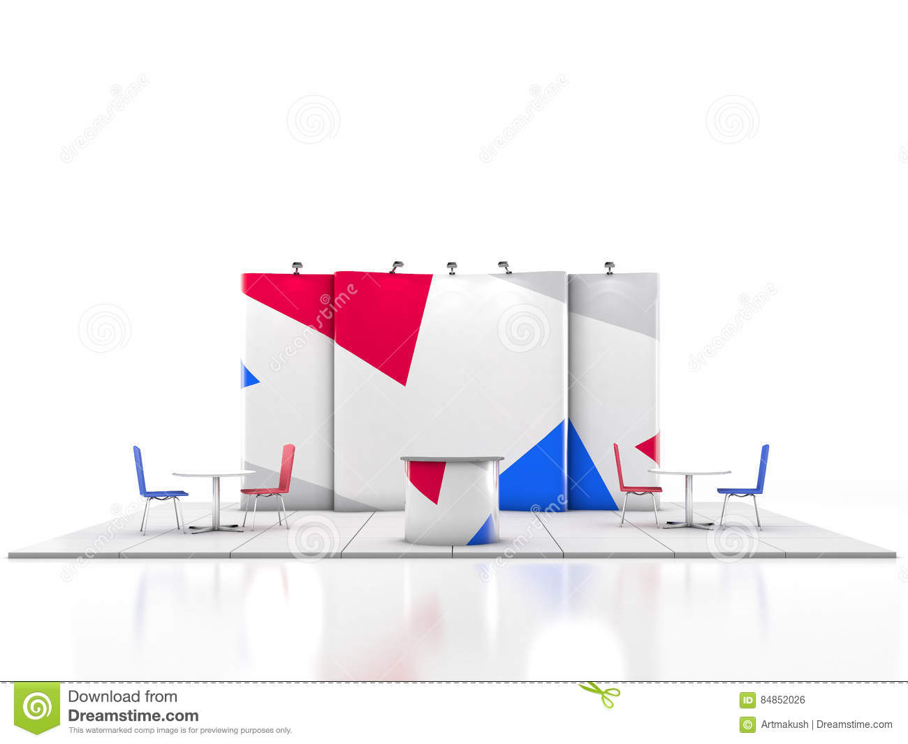 Exhibition Stand Design Illustrator : Blank creative exhibition stand design with color shapes
