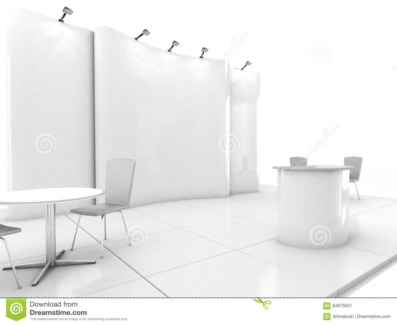 Exhibition Stand Design Template : Blank creative exhibition stand design with color shapes