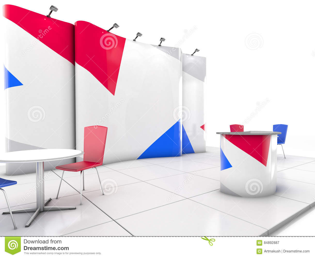 Expo Stands Shape Of You : Blank creative exhibition stand design with color shapes
