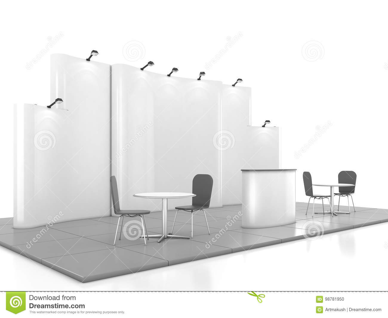 D Exhibition Stand Free Download : Blank creative exhibition stand design with color shapes. booth