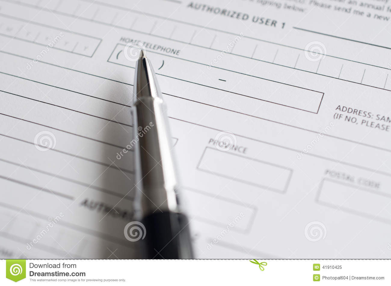 blank credit application form and pen stock image image of form