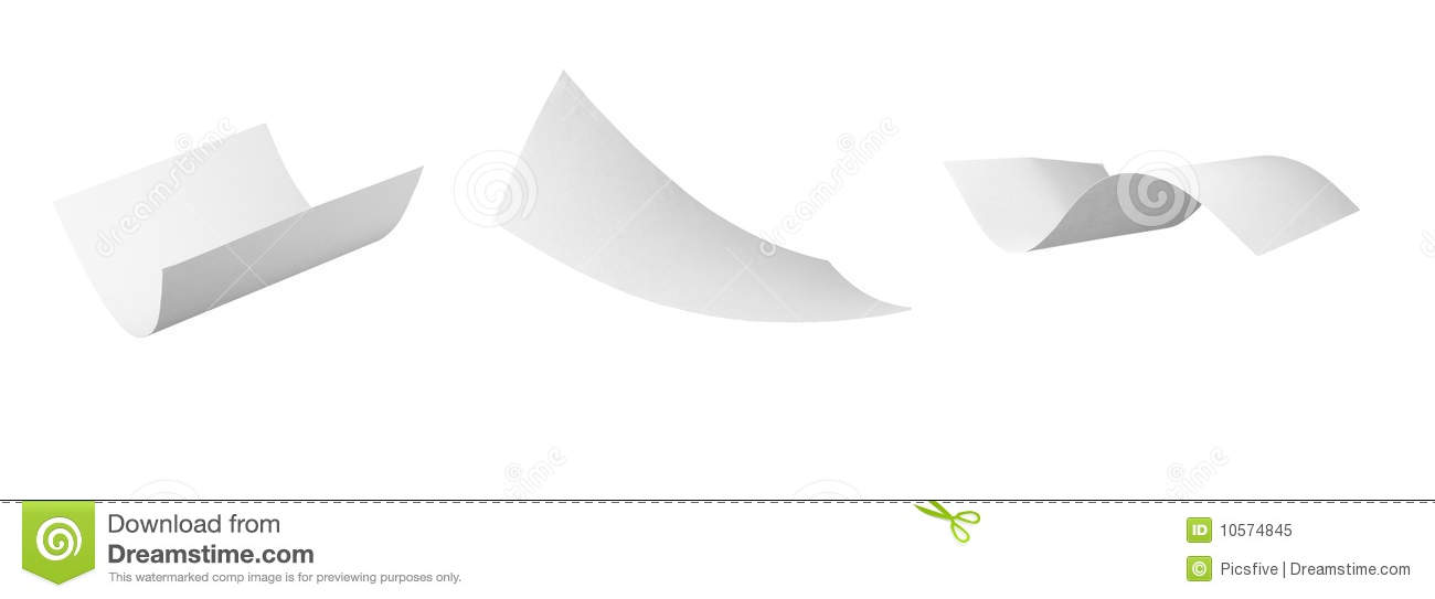 Blank Curl Paper Flying In Wind Stock Image - Image: 10574845