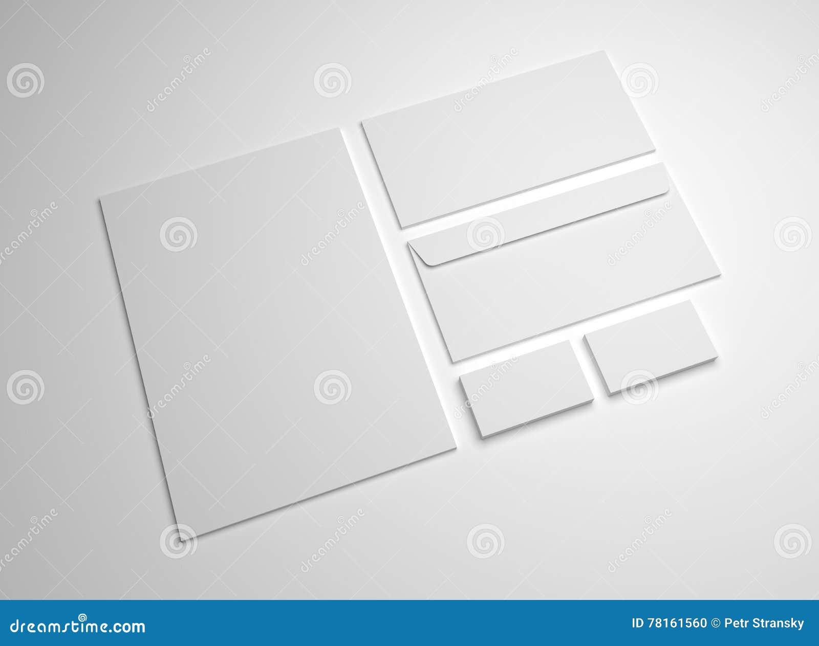 Blank 3d Illustration Mockup Letter, Business Cards And Envelopes ...