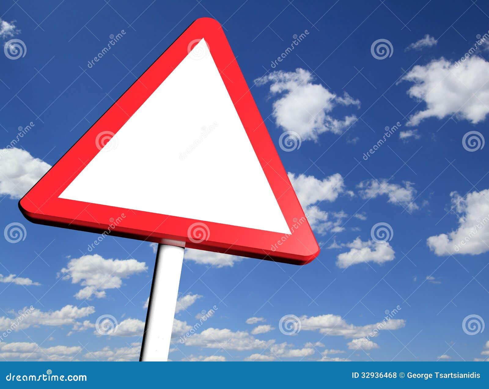 Blank danger ahead warning road sign