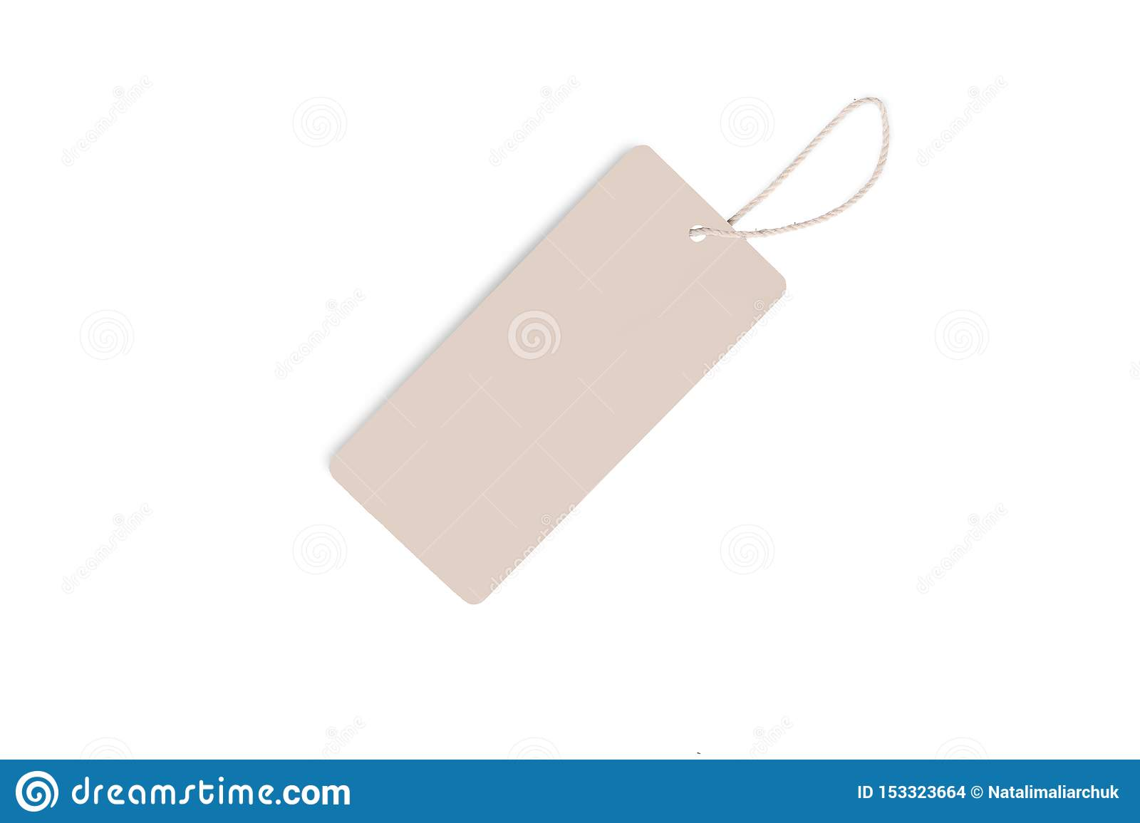 Blank decorative cardboard paper gift tag with twine tie, isolated on white background