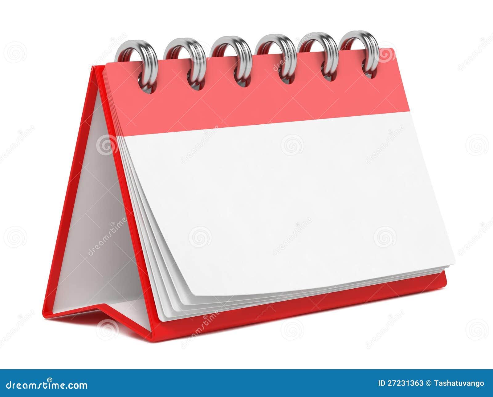 Blank Desktop Calendar Isolated On White. Stock Photos - Image ...