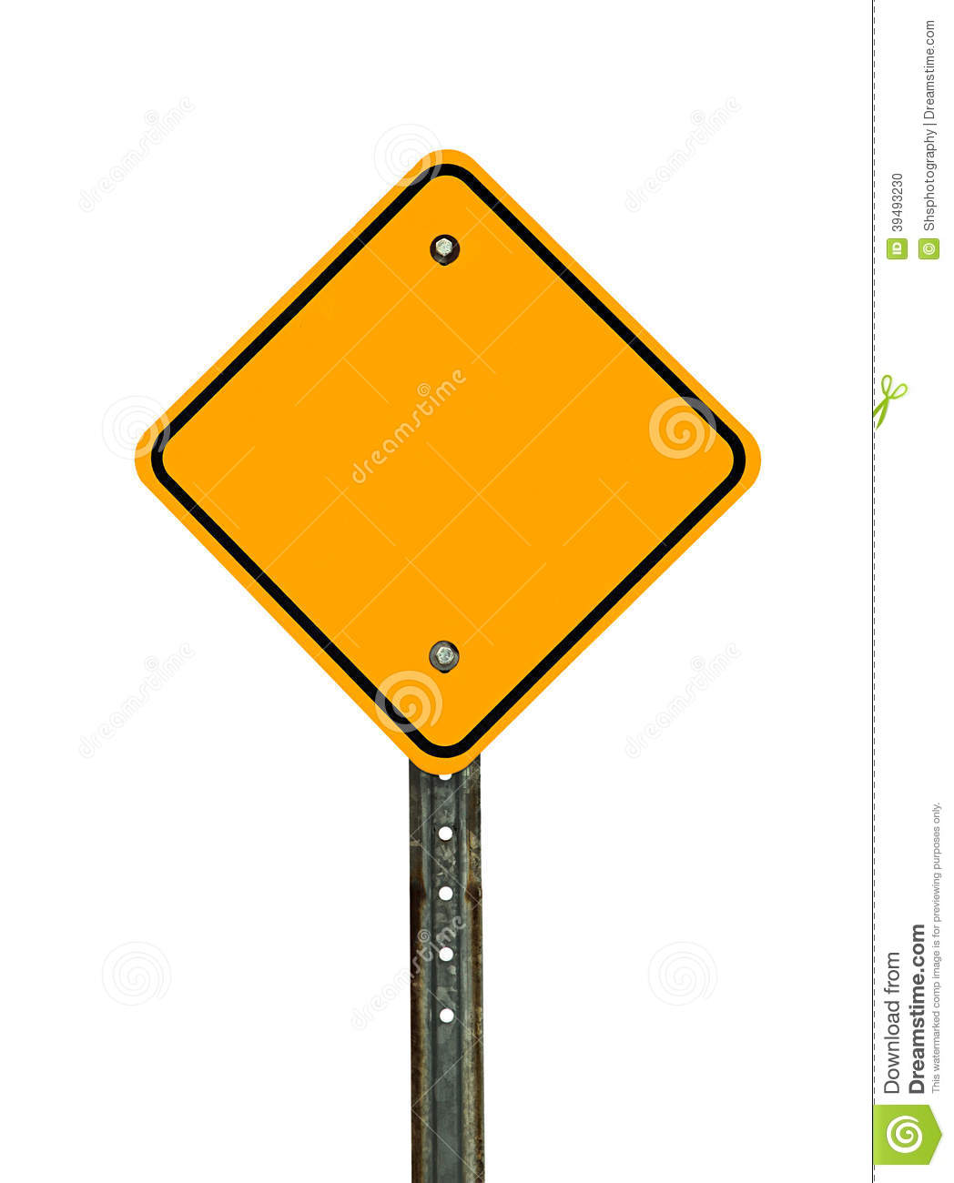 Photograph of a blank diamond shaped yellow caution traffic sign with ...
