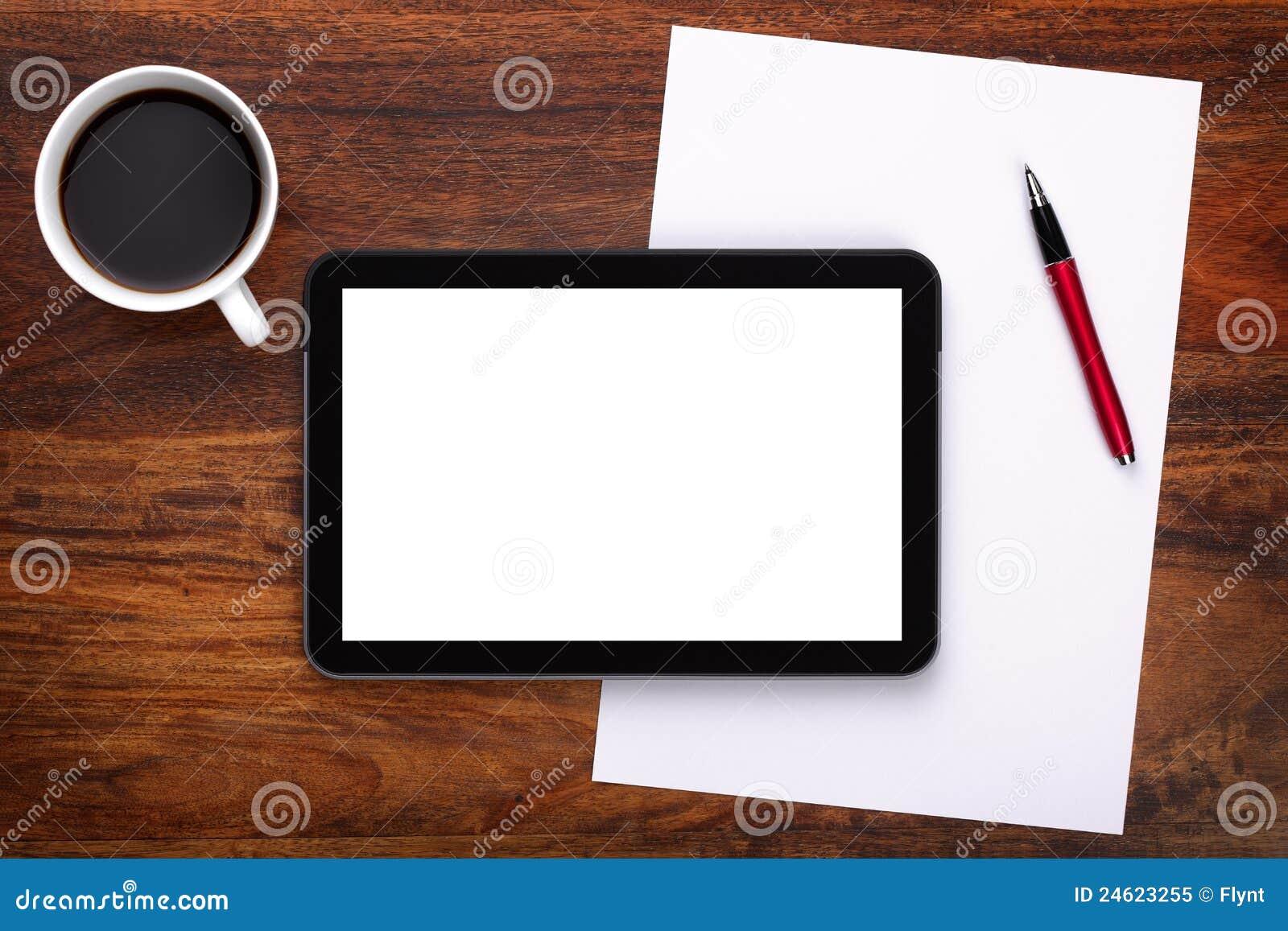 Blank Digital Tablet On Desk Stock Image Image Of Nobody