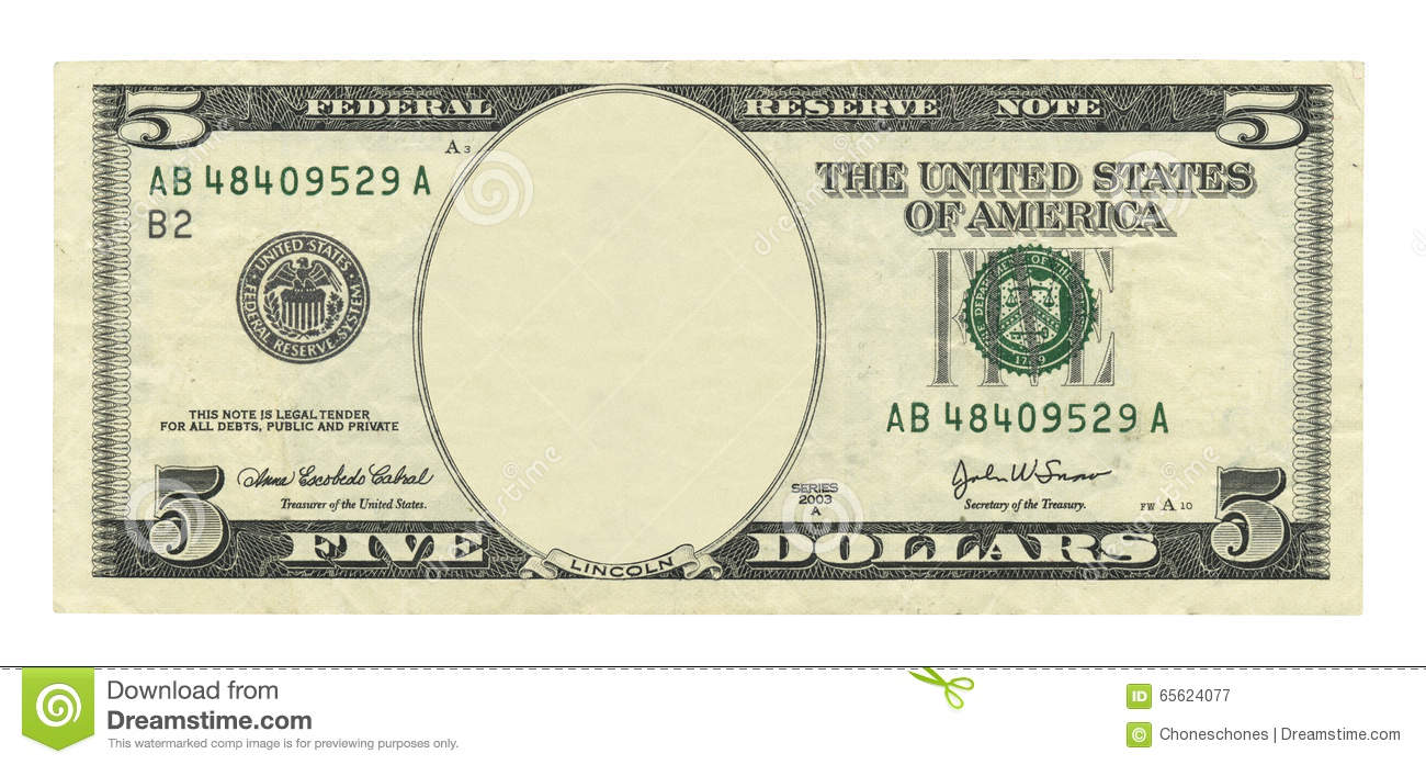 blank 5 dollar bill stock photo image 65624077
