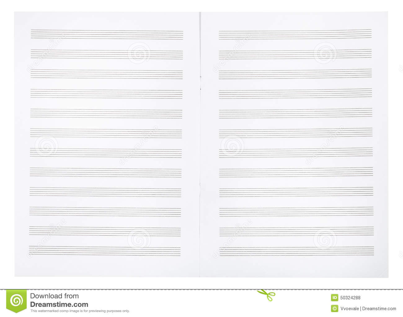 blank double pages of music book stock photo