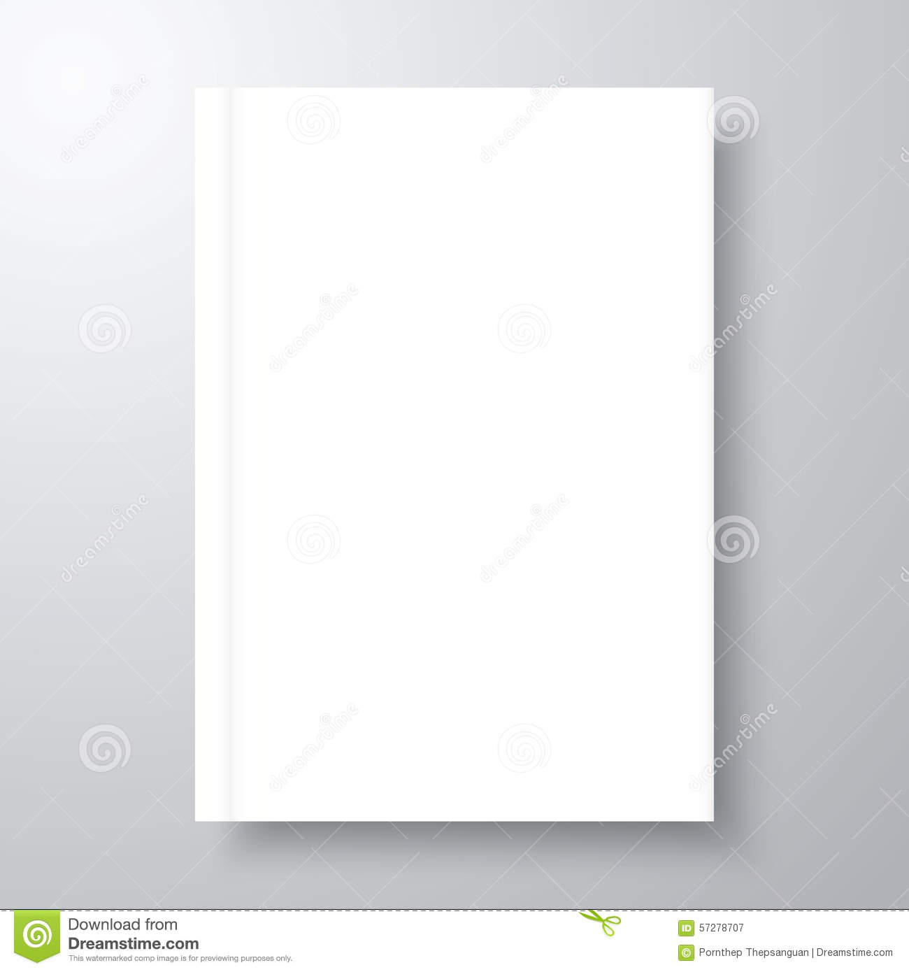 Book mockup with shadow. Blank empty template layout in A4 size for ...