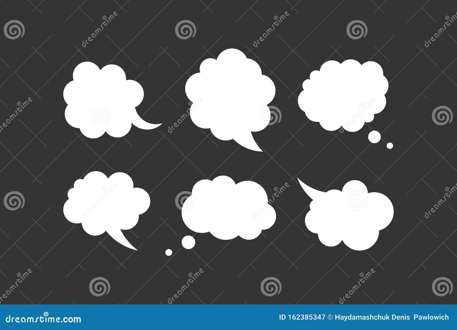 Blank Empty Speech Bubble Collection Vector. Stickers of Speak ...