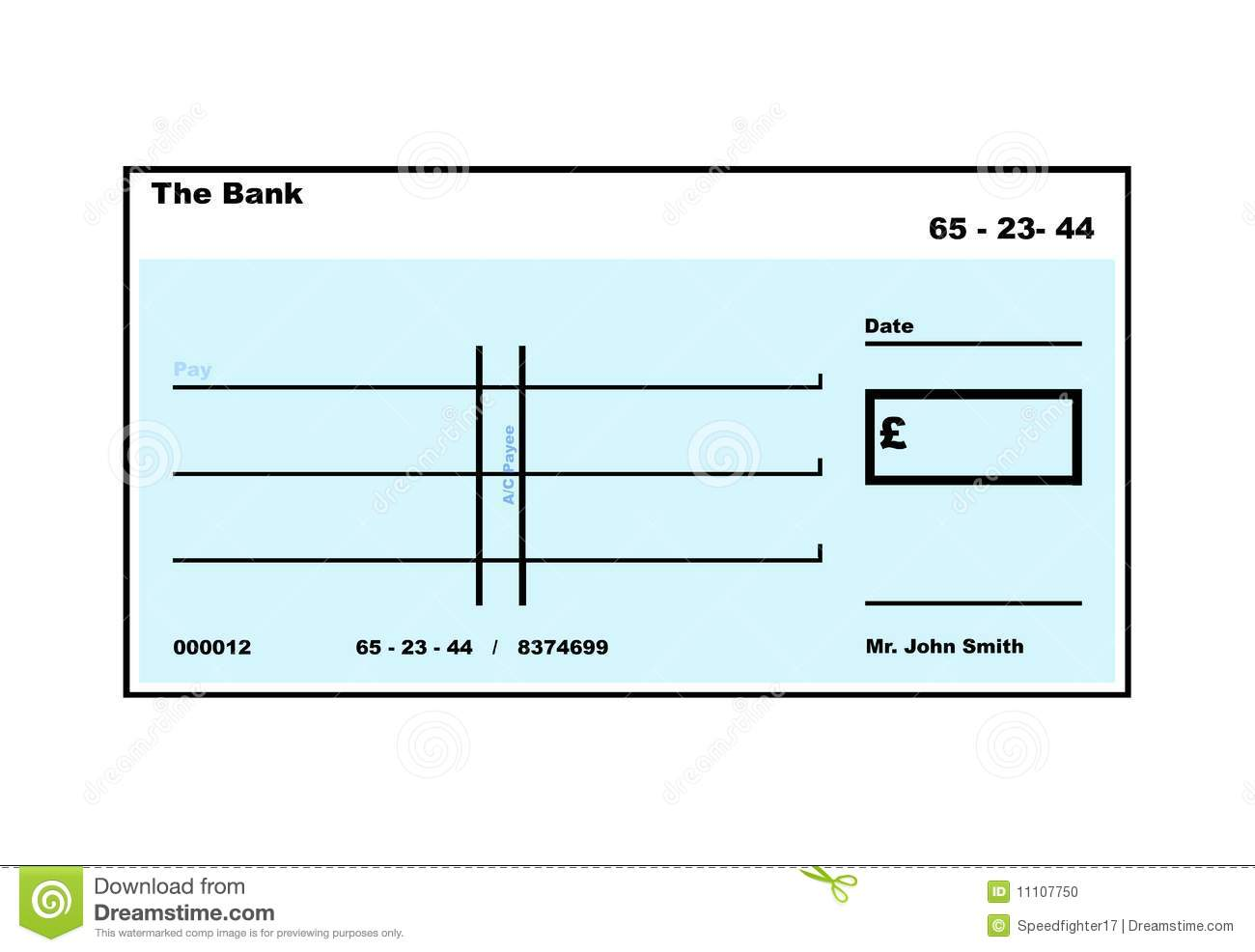 Lilac Blank English Cheque Stock Photo Image 11107750