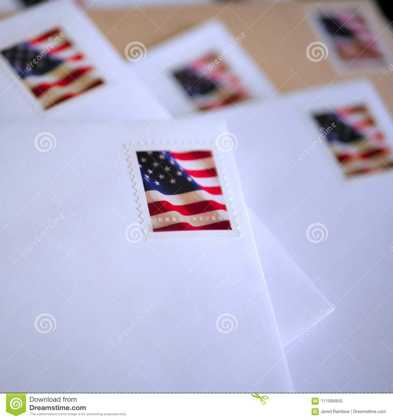 95ada6c80403 Blank envelopes and stationery with red white and blue american flag stamps.