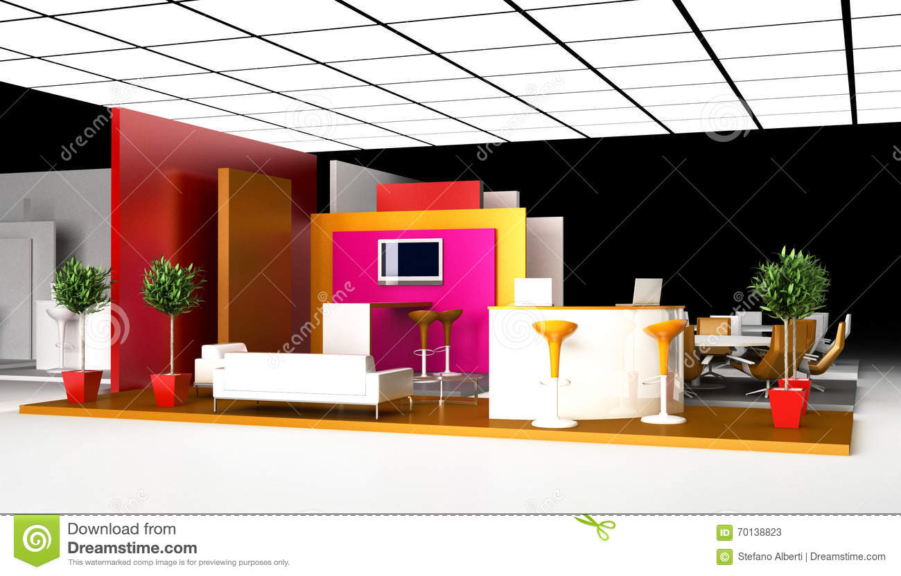 D Rendering Exhibition : Blank exhibition booth d rendering stock illustration