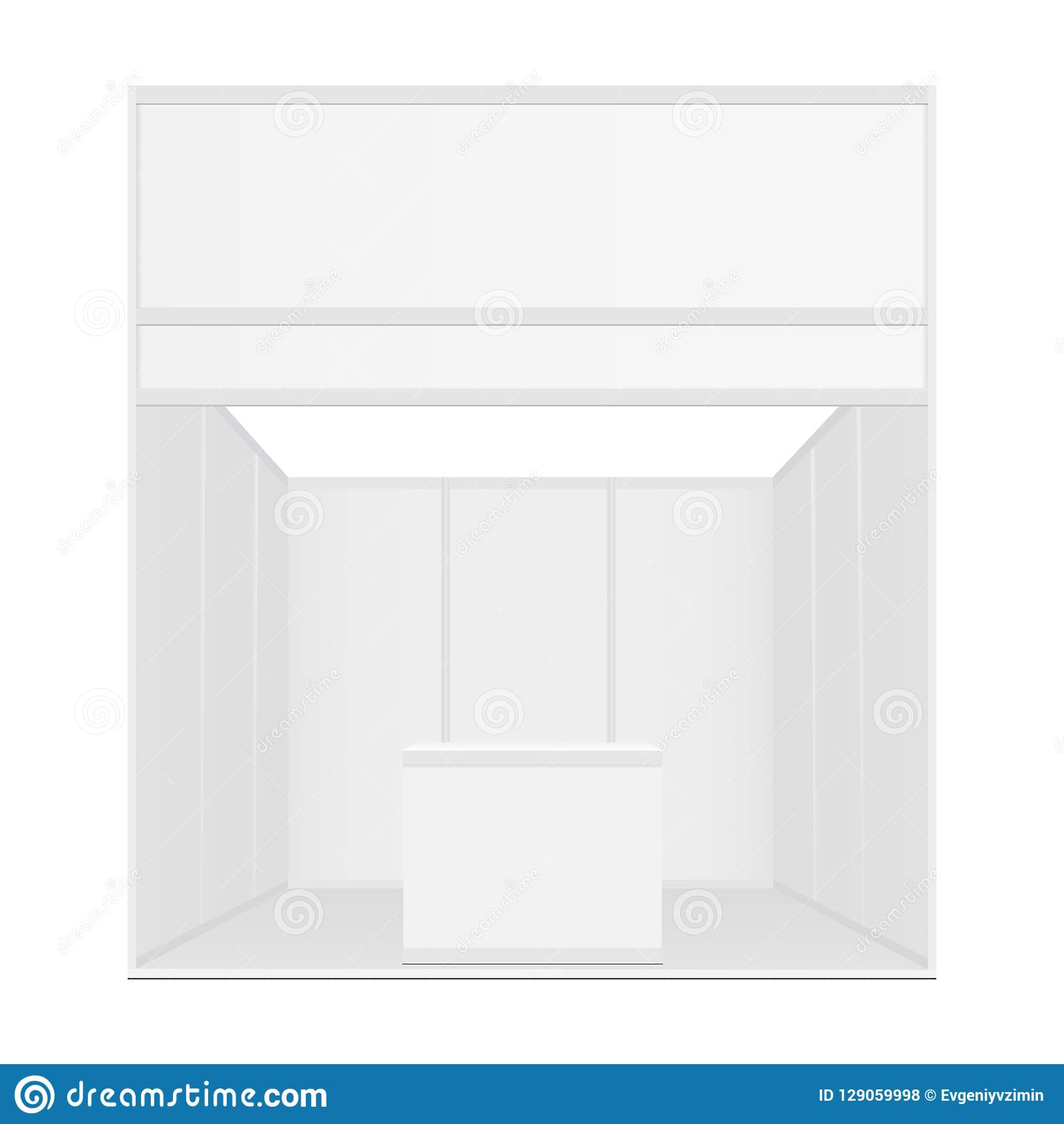 Blank Exhibition Booth Mockup With Table And Billboard Stock Vector