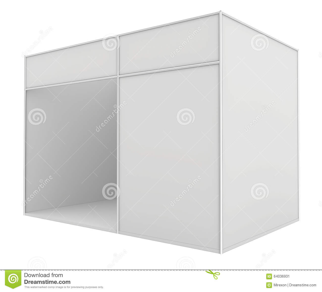 D Exhibition Stand Free Download : Blank exhibition stand. 3d render isolated on illustration 64036931