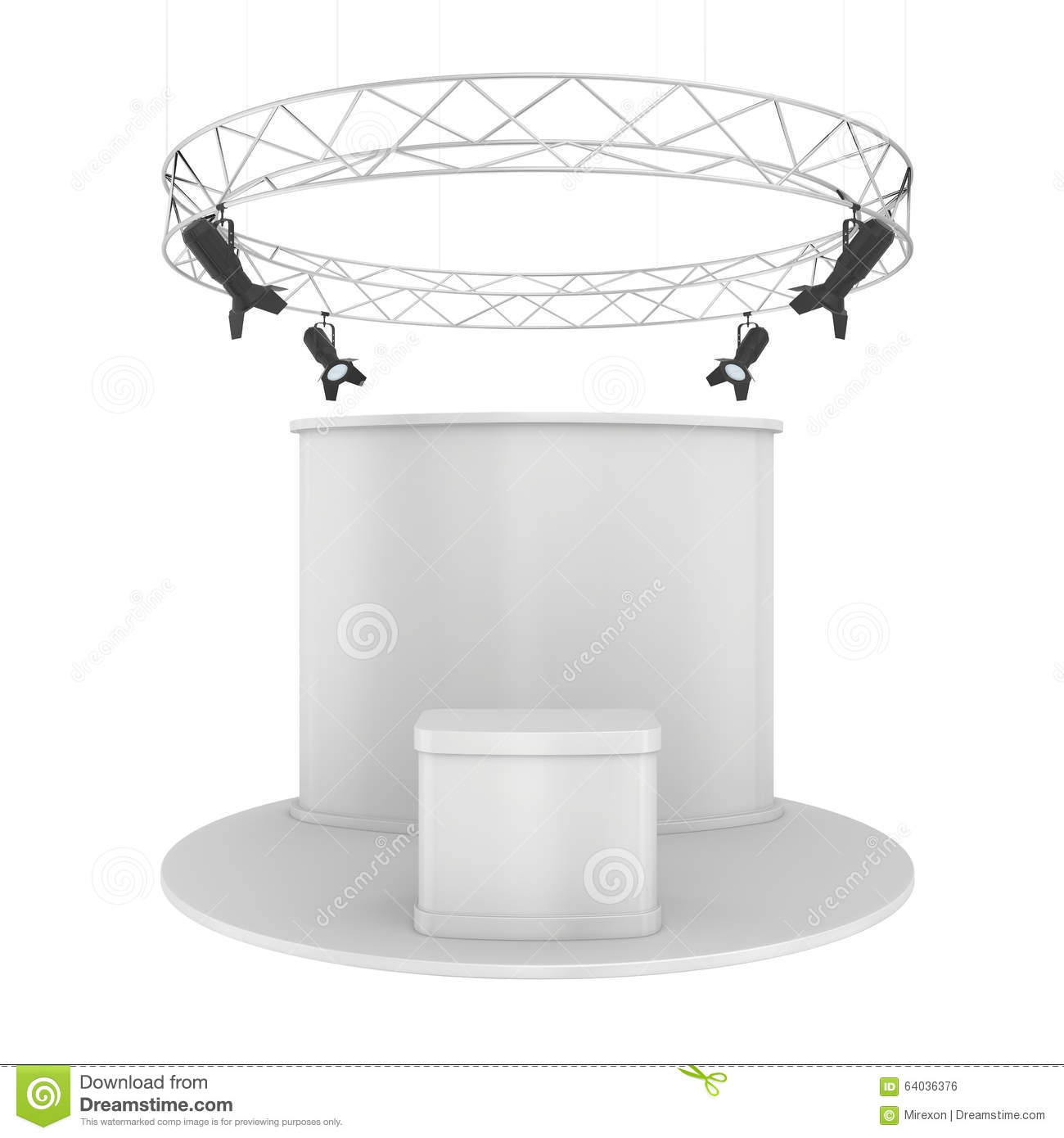 Exhibition Stand White : Blank exhibition stand isolated on white stock photo