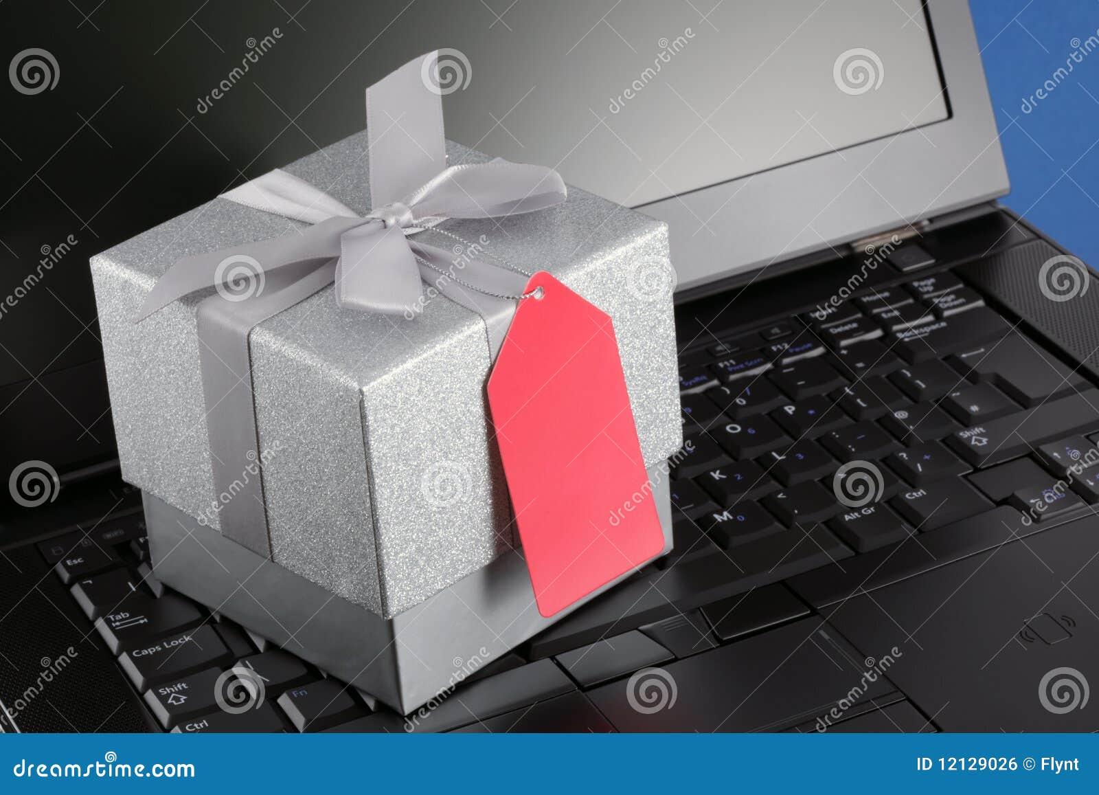 Blank för gåvabärbar dator för kommers e etikett