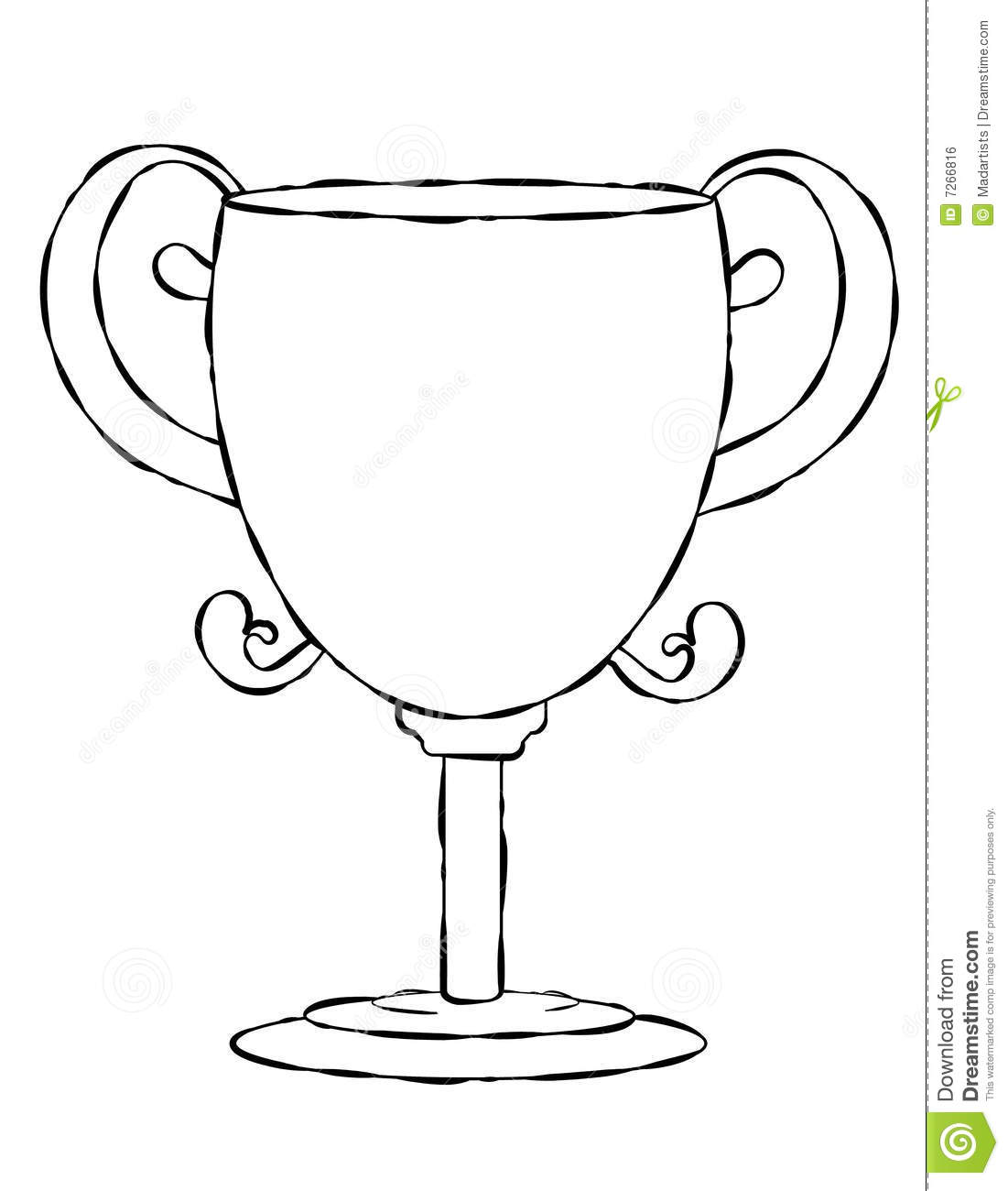 Blank Face Trophy Line Art Royalty Free Stock Image