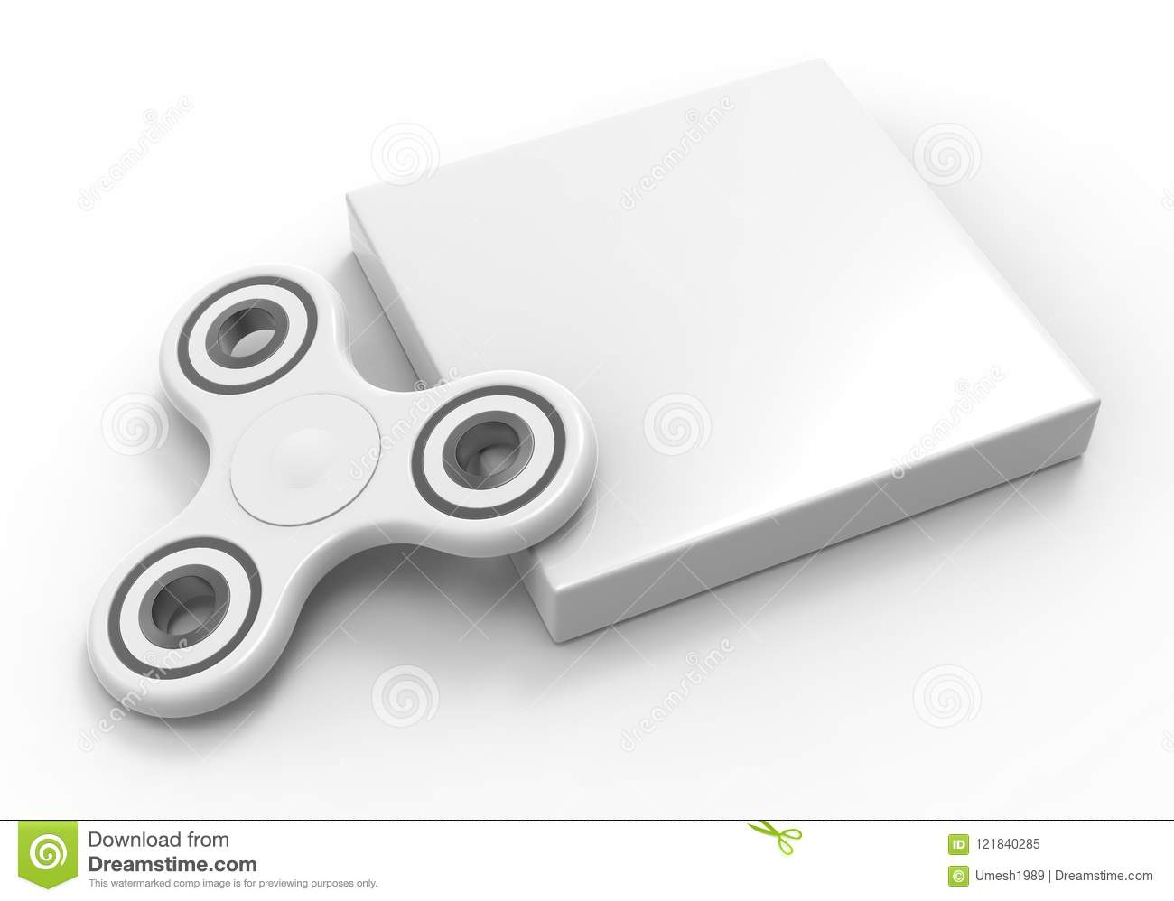 Blank Fidget Spinner With Packaging Box Ready For Your Print Design