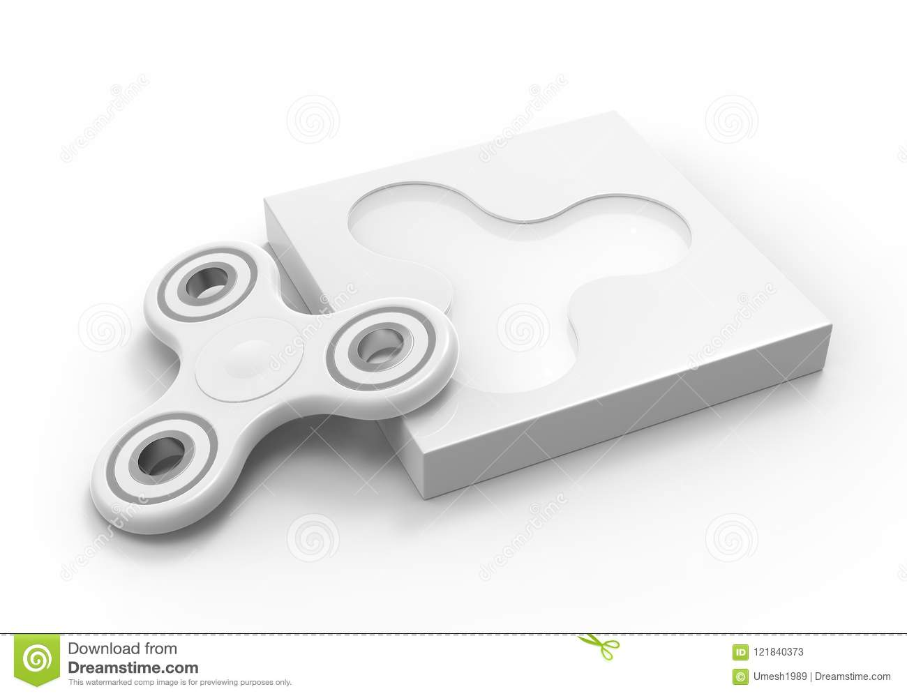 blank fidget spinner with packaging box ready for your print design mock up template 3d illustration