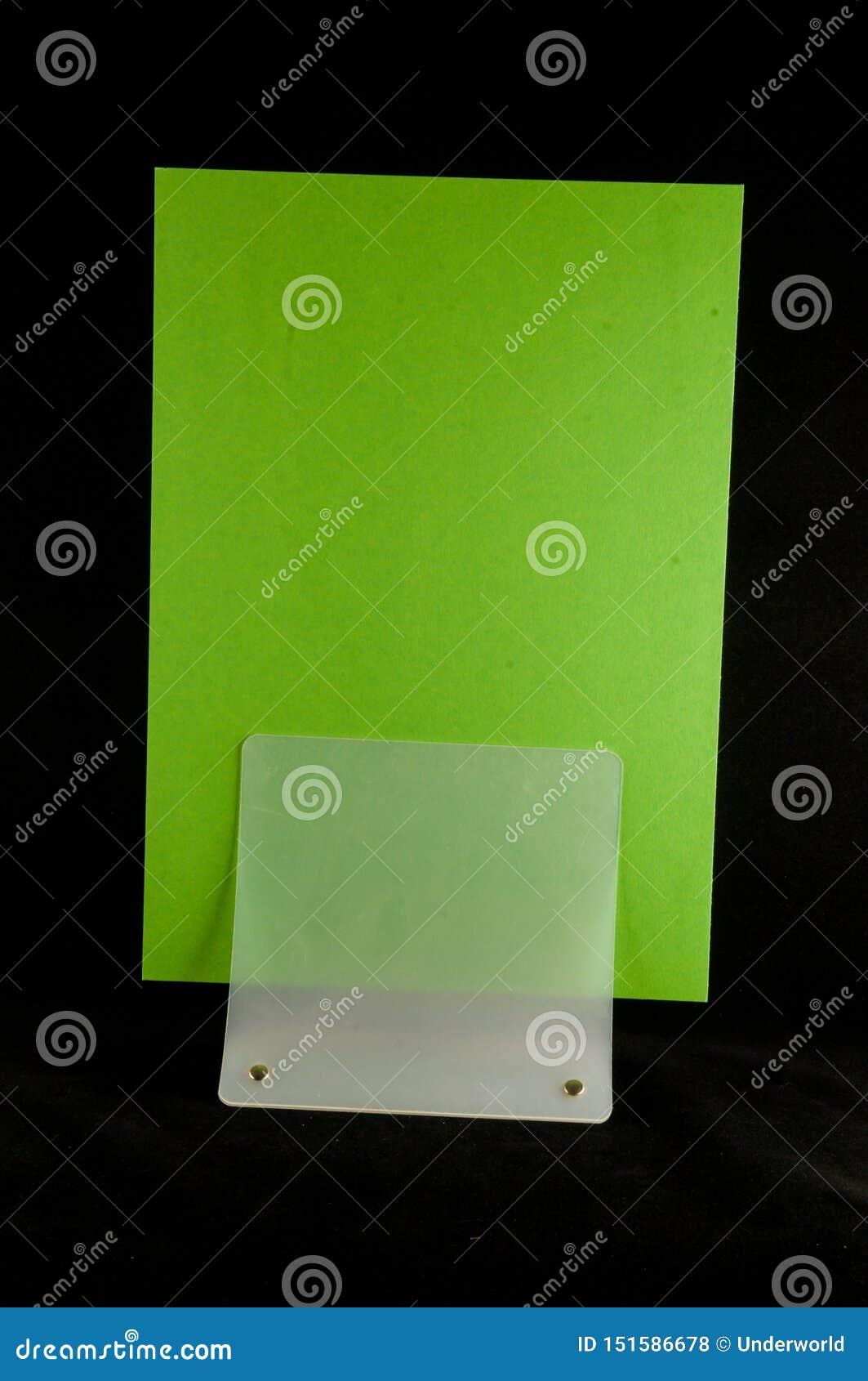 Blank flyer mockup paper holder isolated