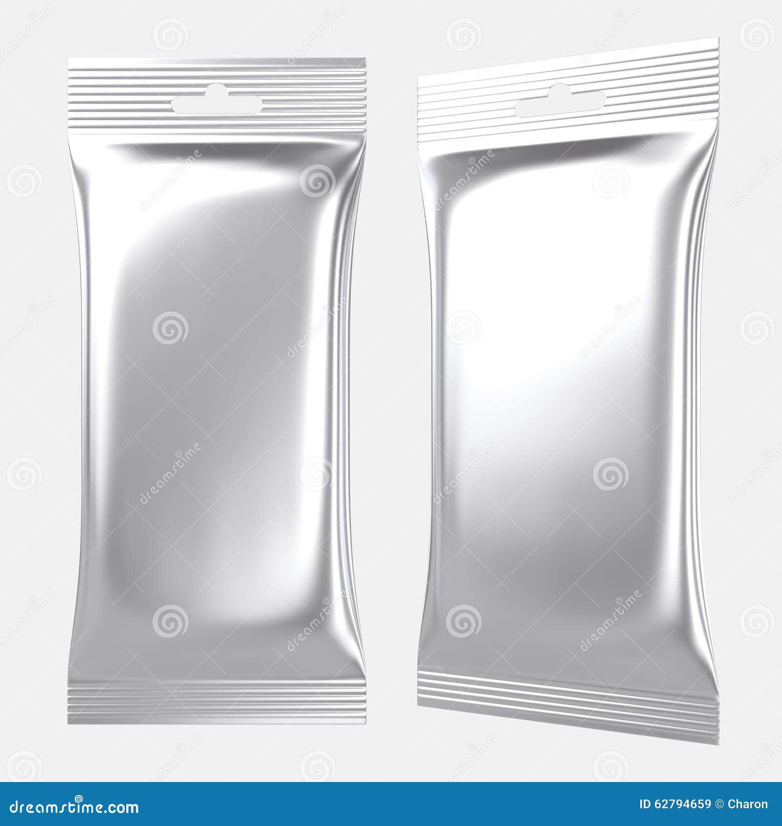 Blank Foil Pouch Silver Plastic Bag Stock Illustration