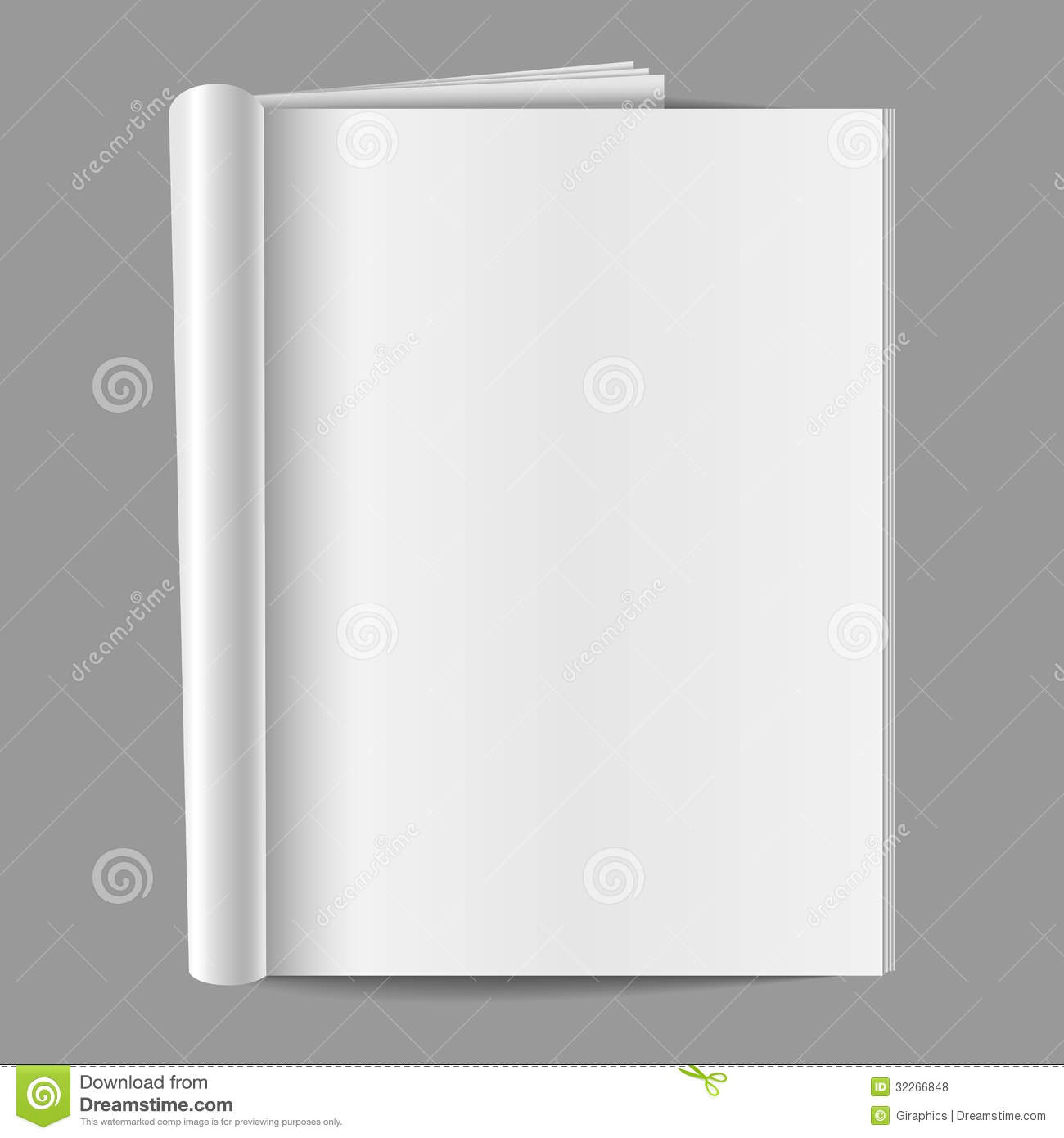 Blank magazine, folded open to show a blank page, isolated on a gray ...