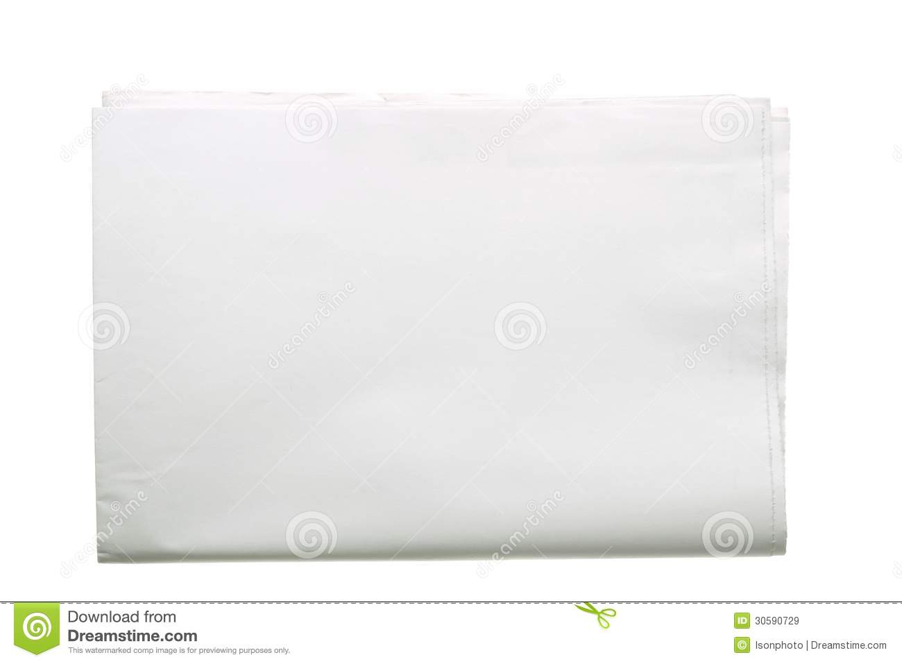 blank folded newspaper stock image  image of texture