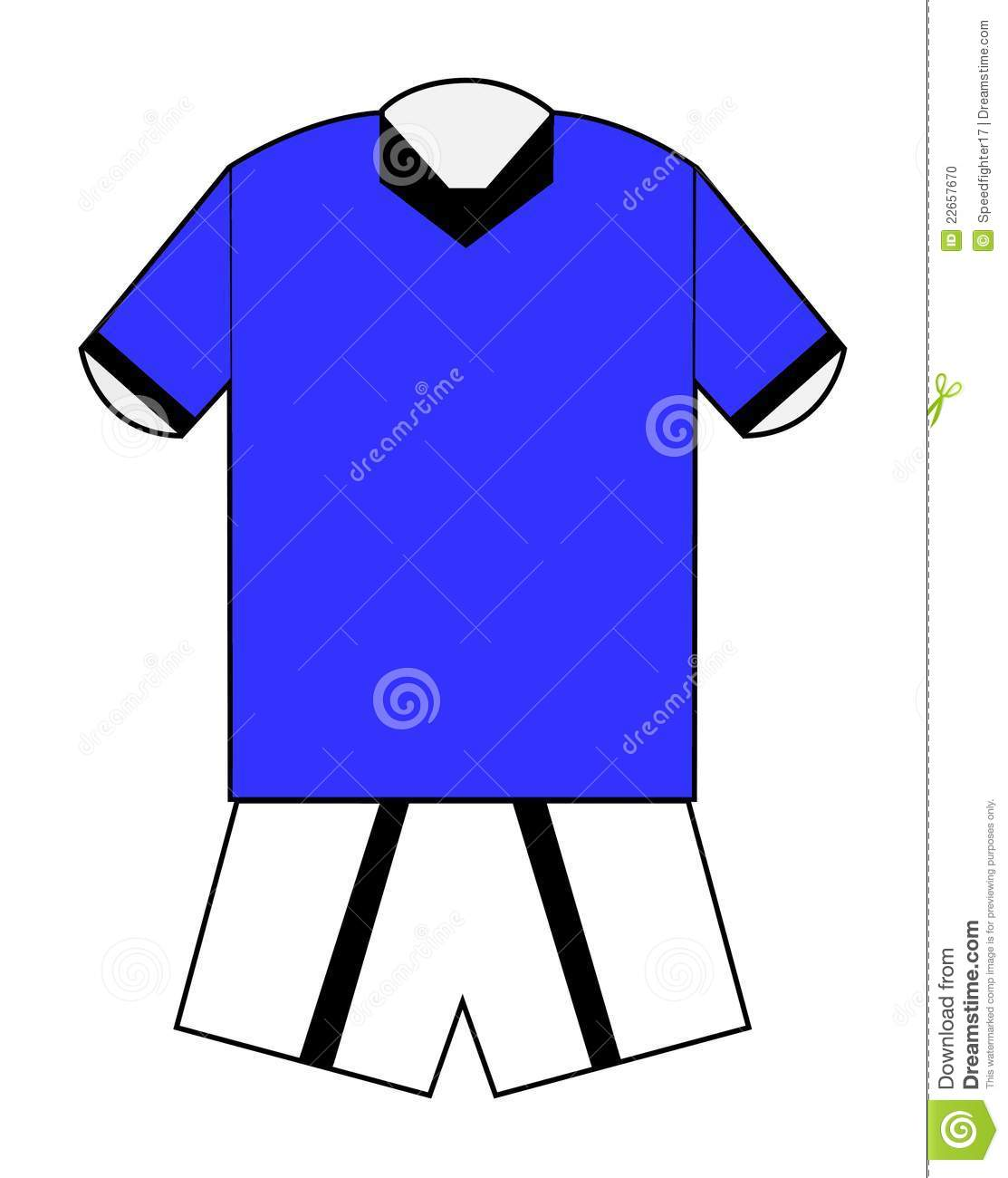 football or soccer kit in blue with clipping path on white football ...