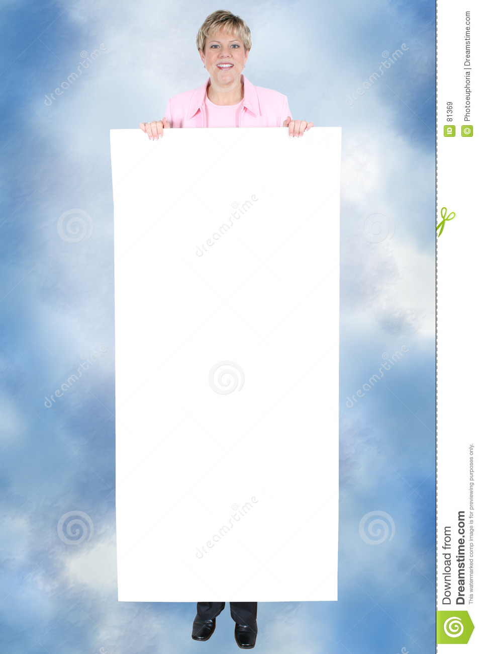 Blank fortext held sign smiling woman