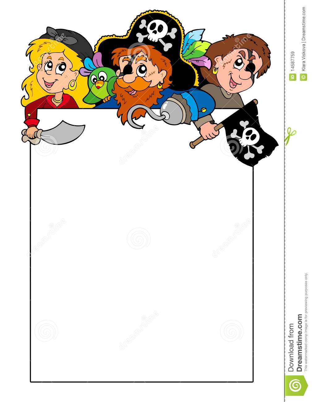 Blank Frame With Cartoon Pirates Royalty Free Stock Images Image